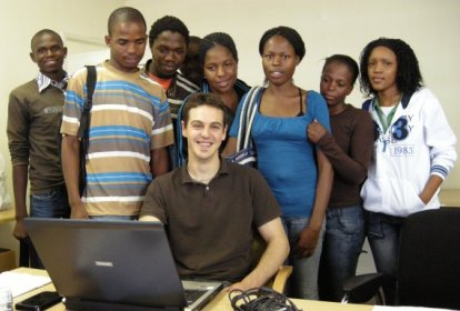 Jonathan and IT Students at Training Center